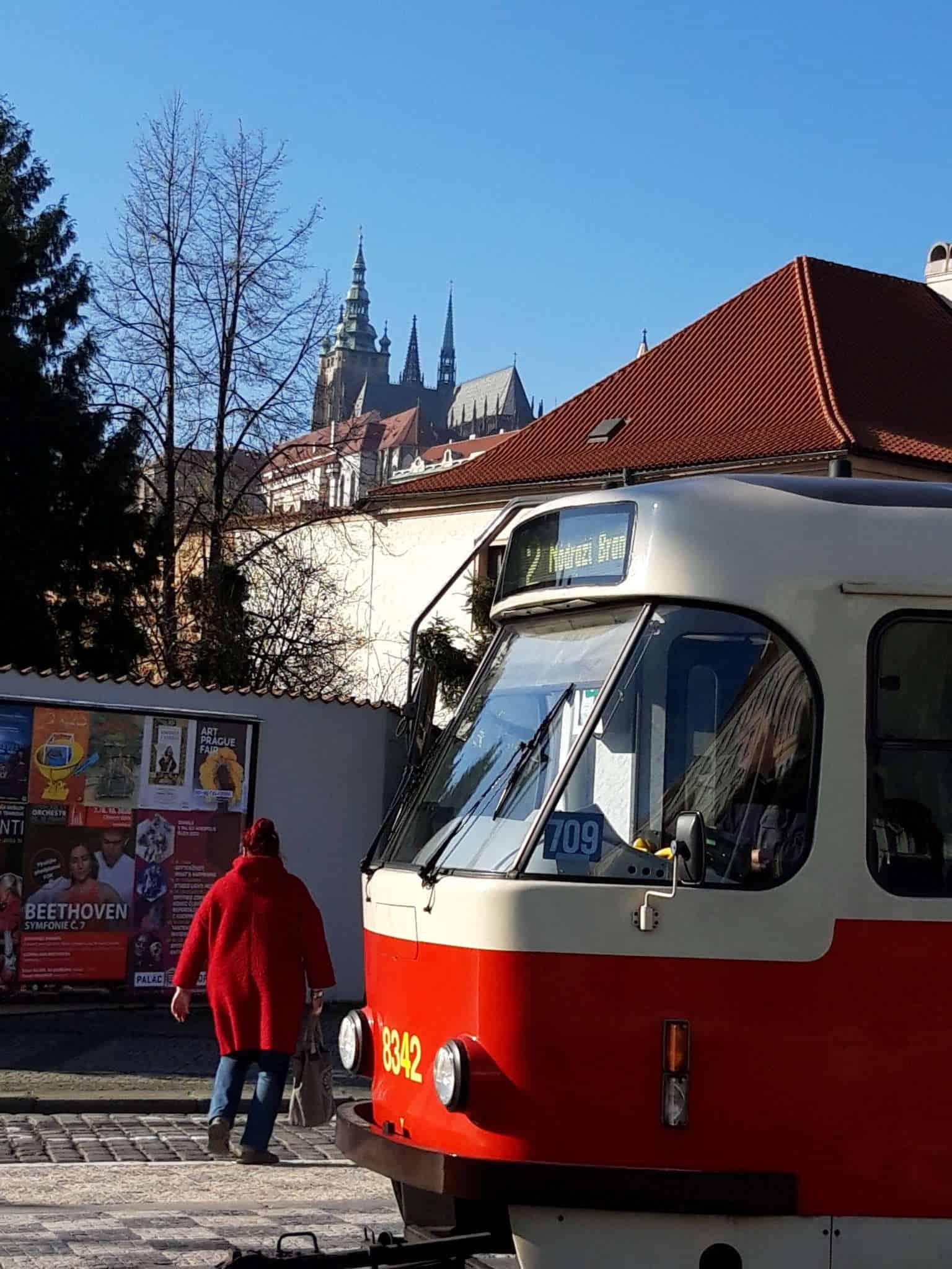 tram and prague castle